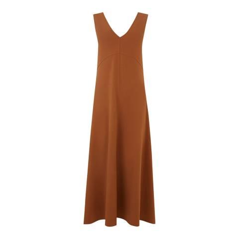 Warehouse Tan V Neck Crepe Maxi Dress