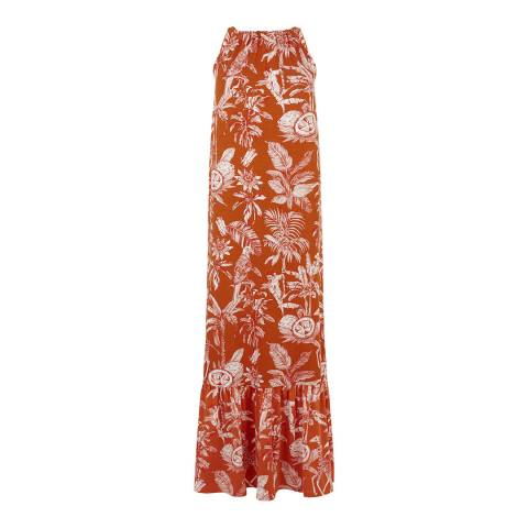 Warehouse Orange Jungle Print Halter Dress