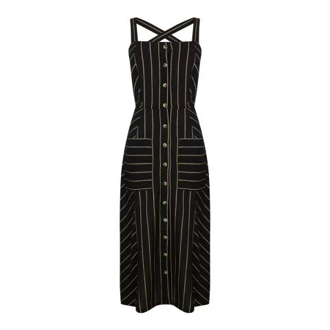 Warehouse Black Stripe Linen Stripe Button Midi Dress