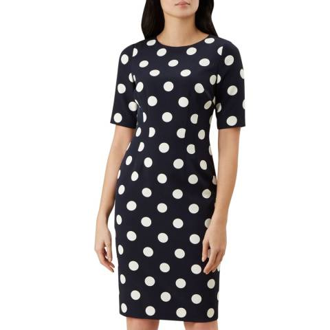Hobbs London Navy Astraea Spot Dress
