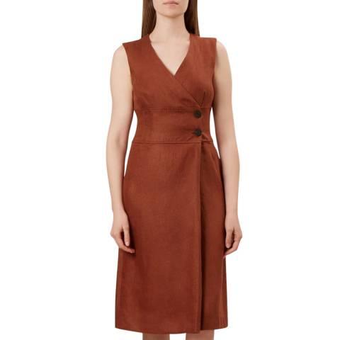 Hobbs London Rust Christina Linen Dress