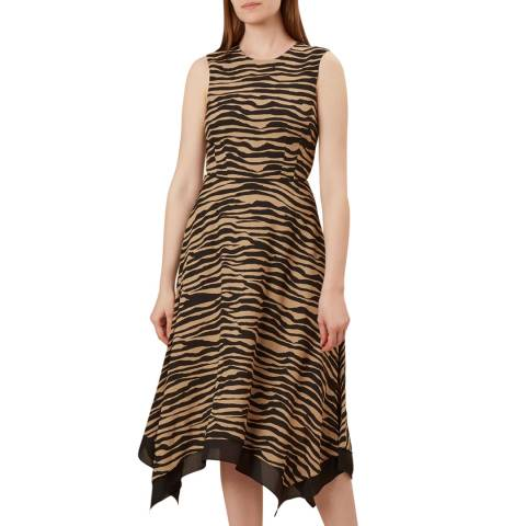 Hobbs London Black Madeline Animal Print Dress
