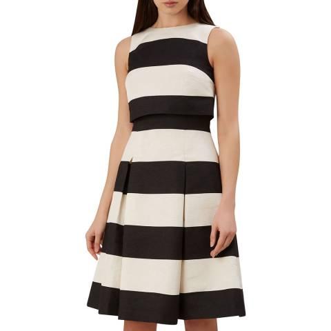 Hobbs London Black/Ivory Emma Stripe Dress