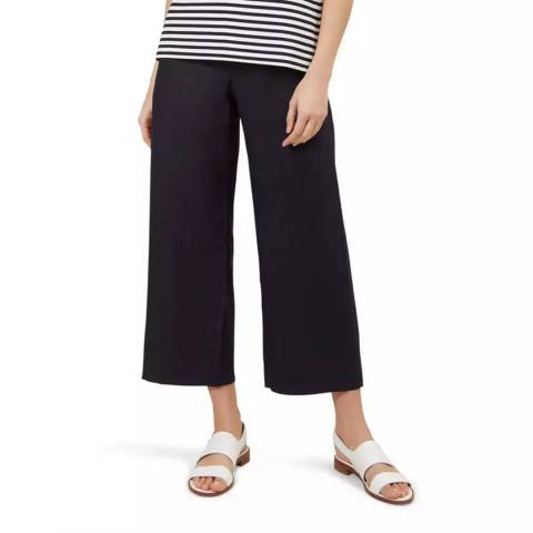 Hobbs London Navy Nicole Crop Linen Trousers