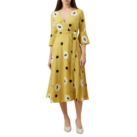 Hobbs London Yellow Jeanne Print Dress