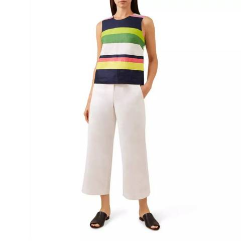 Hobbs London White Nicole Crop Linen Trousers