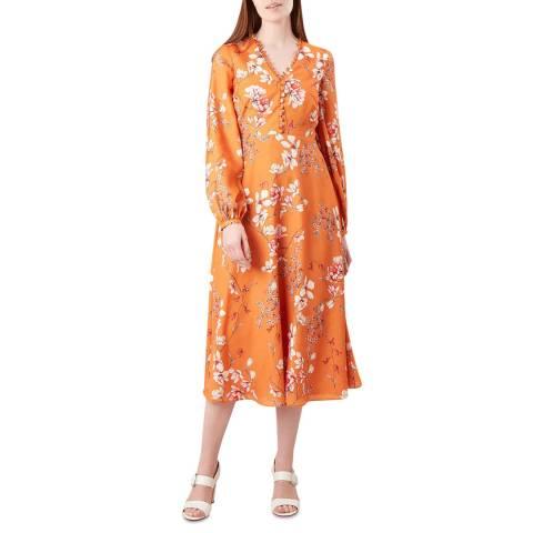 Hobbs London Orange Ferrier Floral Dress