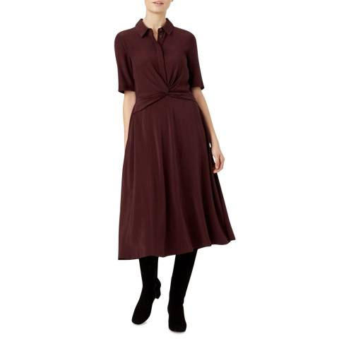 Hobbs London Burgundy Maya Dress