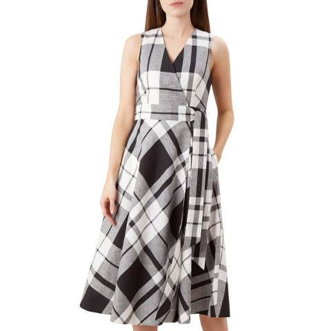 Hobbs London Black/White Esther Check Dress