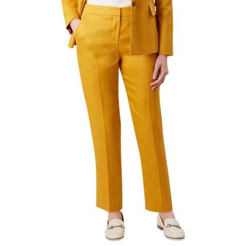 Hobbs London Yellow Anthea Linen Trousers