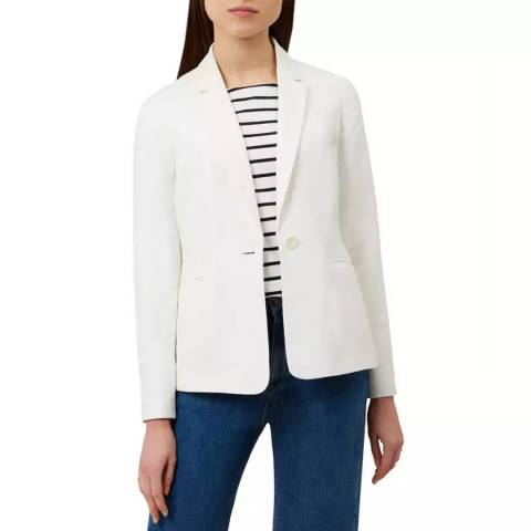 Hobbs London White Kernow Silk Blend Jacket