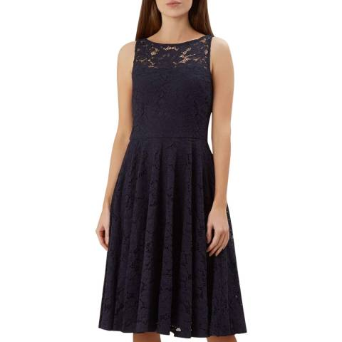 Hobbs London Navy Ashling Lace Dress