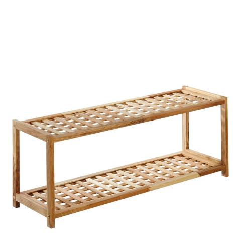 Premier Housewares Shoe Rack, 2 Tier, Natural Walnut