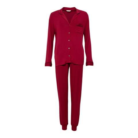 Cyberjammies Red Violet Long Sleeve Revere Collar Knit Pyjama Set
