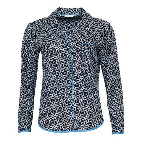 Cyberjammies Blue Multi Milly Woven Long Sleeve Tile Print Pyjama Top