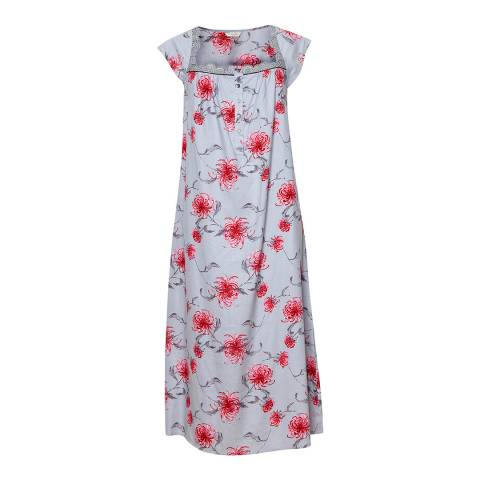 Cyberjammies Muted Grey/Red Nancy Woven Floral Print Long Nightdress