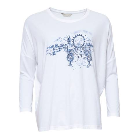 Cyberjammies White Harper Long Sleeve White Placement Print Knit Top