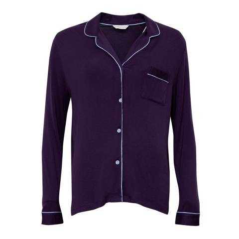 Cyberjammies Purple Sophie Long Sleeve Indigo Revere Collar Knit Pyjama Top