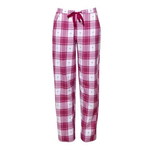 Cyberjammies Burgandy/White Susie Woven Heart Dobby Check Pyjama Pant