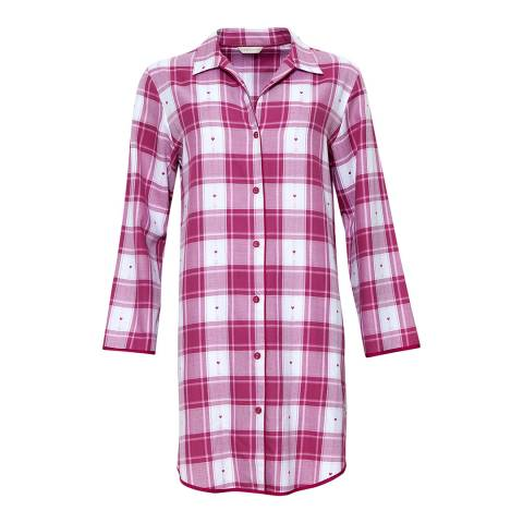 Cyberjammies Burgandy/White Susie Woven Long Sleeve Heart Dobby Check Nightshirt