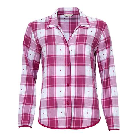 Cyberjammies Burgandy/White Susie Woven Long Sleeve Heart Dobby Check Pyjama Top