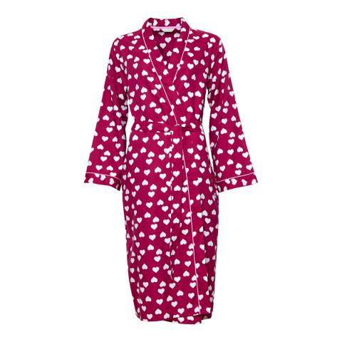 Cyberjammies Pink Susie Woven Long Sleeve Heart Print Long Robe