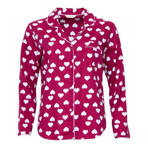 Cyberjammies Pink Susie Woven Long Sleeve Heart Print Pyjama Top