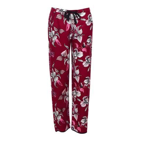 Cyberjammies Burgandy/Pink Alice Woven Floral Print Pyjama Pant
