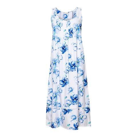 Cyberjammies White/Blue Thea Woven Floral Print Long Nightdress