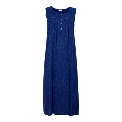Cyberjammies Blue Thea Woven Jacquard Dobby Long Nightdress
