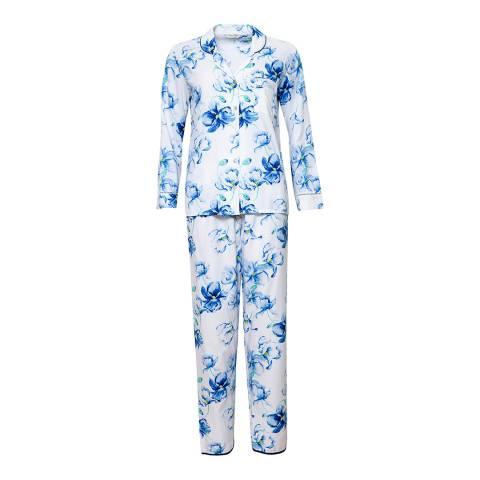 Cyberjammies White/Blue Thea Woven Long Sleeve Floral Print Pyjama Set