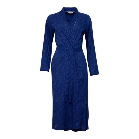 Cyberjammies Blue Thea Woven Long Sleeve Jacquard Dobby Long Robe
