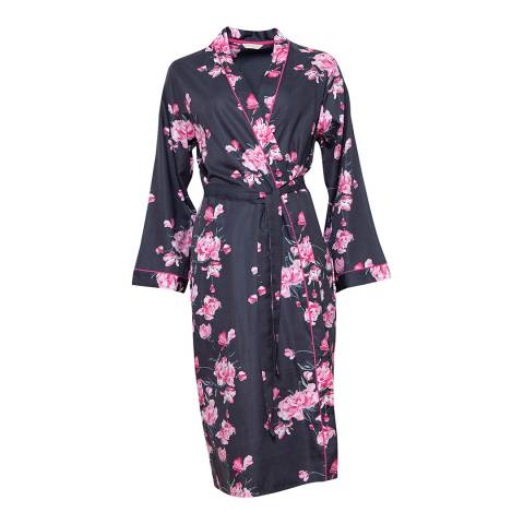 Cyberjammies Dark Grey/Pink Lola Woven Long Sleeve Floral Print Long Robe