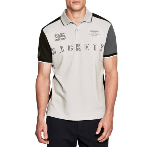 Hackett London Grey AMR Cotton Stretch Polo Shirt