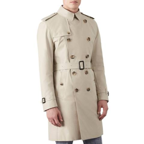 Hackett London Tan Belted Made In London Cotton Mac