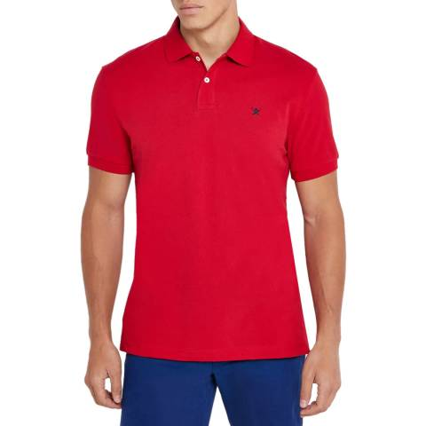 Hackett London Red Classic Logo Cotton Polo Shirt