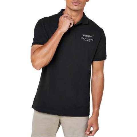 Hackett London Black AMR Classic Cotton Polo Shirt