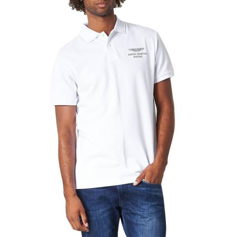 Hackett London White AMR Classic Cotton Polo Shirt