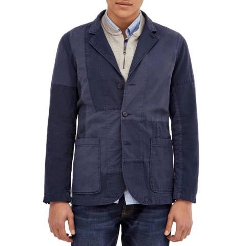 Hackett London Blue Patchwork Cotton Denim Jacket