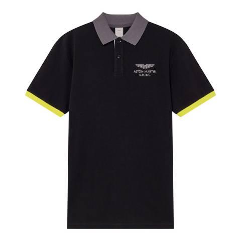 Hackett London Black AMR Collar Cotton Polo Shirt