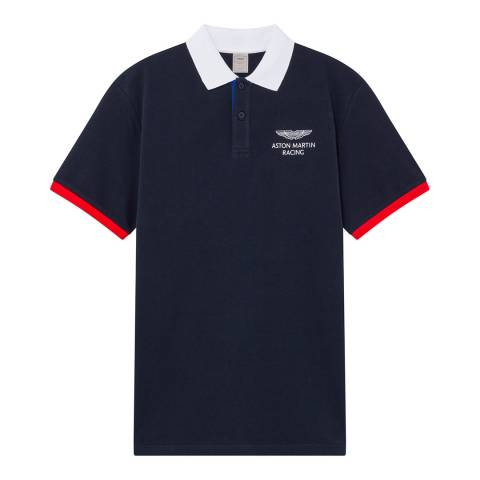 Hackett London Navy AMR Collar Cotton Polo Shirt