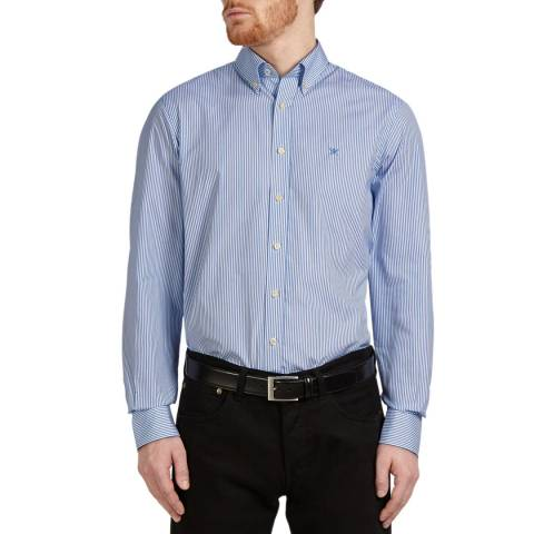Hackett London White/Blue Classic Stripe Cotton Shirt