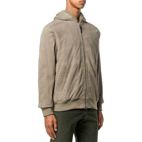 Hackett London Taupe Leather Suede Hoodie