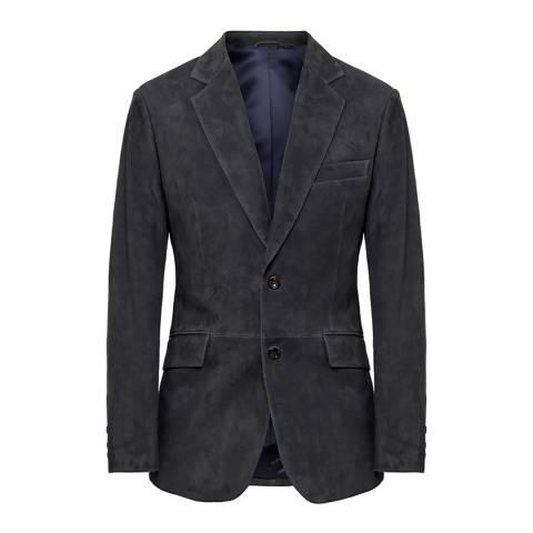 Hackett London Dark Grey Mayfair Suede Suit Jacket