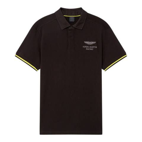 Hackett London Black AMR Cotton Stretch Polo Shirt