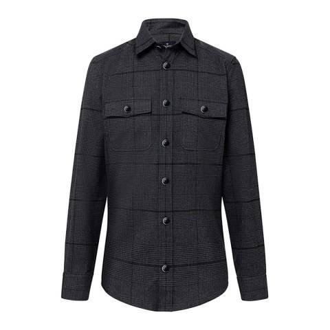 Hackett London Steel Prince of Wales Check Cotton Shirt