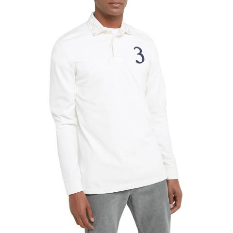 Hackett London White Patch Cotton Rugby Shirt