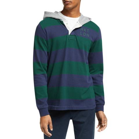 Hackett London Navy/Green Hooded Cotton Rugby Shirt