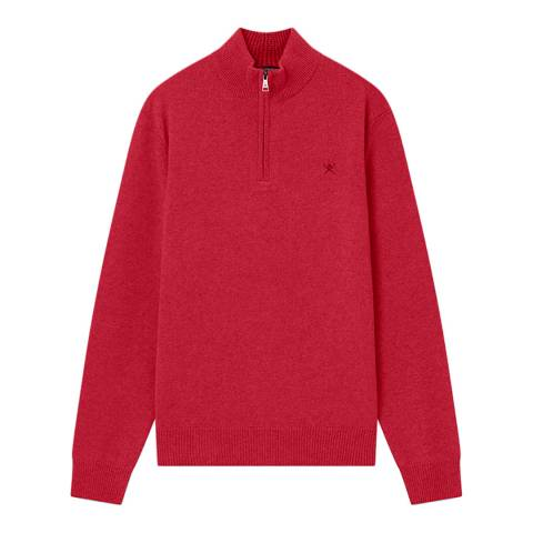 Hackett London Cherry Half Zip Lambswool Jumper