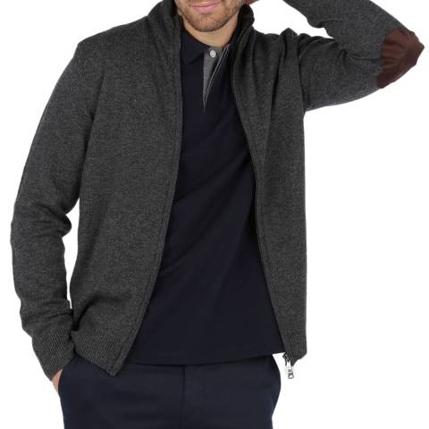 Hackett London Carbon Zip Lambswool Cardigan